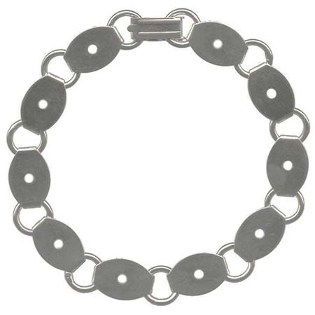 Bracelet with Oval Blanks - Silver-Plated (pack of 6)