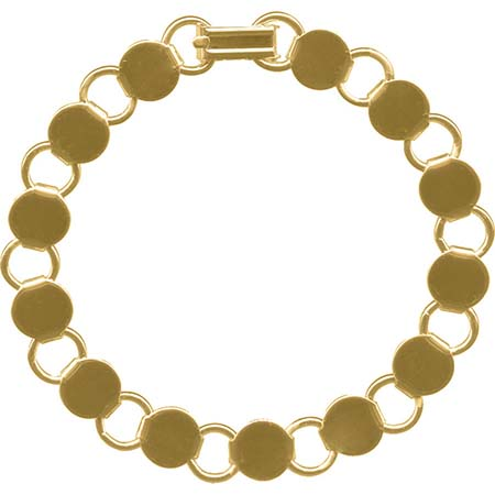 Bracelet with Round Blanks- Gold-plated (pack of 6)