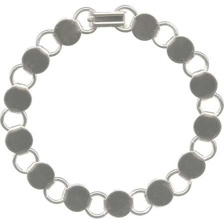 Bracelet with Round Blanks- White/Silver Tone