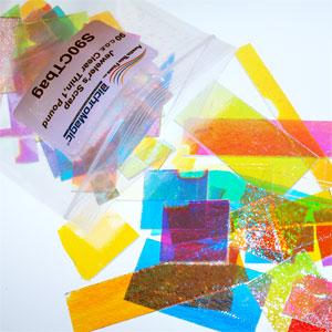 Dichroic Scrap on Thin Smooth Clear 90 COE - 1 lb. bag