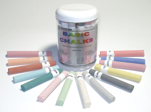 Glassline Chalk Set with one each of 14 colors (3/8 in. round x 3 in. long)