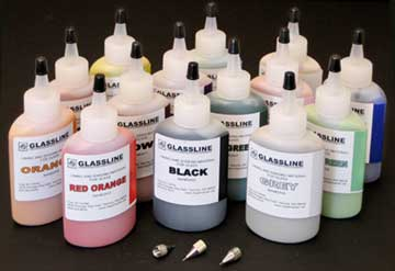 Glassline Original Paint Set with 3 Tips and one each of 14 colors
