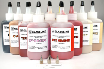 Glassline Tropical Paint Set with 3 Tips and one each of 14 colors