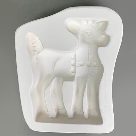 Deer Frit Casting Mold for Stand-Up - 6 x 5 in.