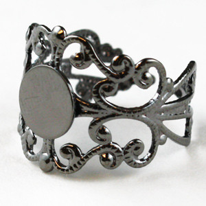 Hematite Adjustable Filigree Rings - Pack of 10