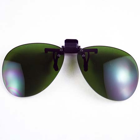 Clip On Green #3 Safety Glasses - Use w/ Didymium glasses for torchwork