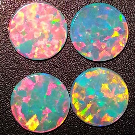 Opals - Round Coins - 15 mm - White