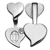 Silver-plated Double Heart Bail- 23.6mm height x 11mm width