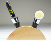 Wood Wine Stopper Base - 2 Holes (wine stoppers not included)