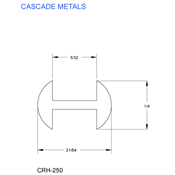 1/4 in. H-Round Copper Came (sub for CHI 2567C)