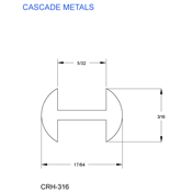 3/16 in. H-Round Copper Came (sub for CHI 2551C)