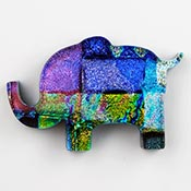 Fused Glass Elephant Shape 1-7/8 x 1-1/4 in. - 96 COE