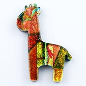 Fused Glass Giraffe Shape 1-7/8 x 1-3/8 in. - 96 COE