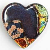 Fused Glass Heart Shape 1-1/4 x 1-1/4 in. - 90 COE