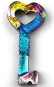 Fused Glass Key Shape 1-3/4 x 3/4 in. - 90 COE