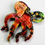 Fused Glass Octopus Shape 1-1/2 x 1-1/2 in. - 90 COE