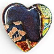 Fused Glass Heart Shape 1-1/4 x 1-1/4 in. - 96 COE