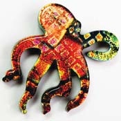 Fused Glass Octopus Shape 1-1/2 x 1-1/2 in. - 96 COE