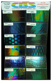 Crinklized Dichroic Patterns Galore Pack on Black and Clear 90 COE