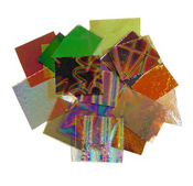 Crinklized Dichroic on 1.5mm thin Clear 90 COE 1/2-lb Scrap