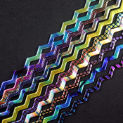 Patterns Galore Dichroic on 6 mm Black Firestrip 90 COE 16 in. long