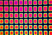 System 96 Thin Clear - Square 1 Pattern (1/8 in. squares) on Rainbow 2 Dichroic