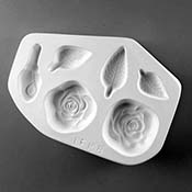 Roses & Leaves Frit Cast Mold - 8.25 x 6 in.