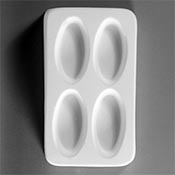 Large 2 x 1 in. Ovals Ceramic Mold - 5.5 x 3.25 in.