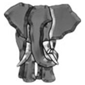 Elephant - Gray/Clear bevel cluster 10 x 11 in., 16 pieces