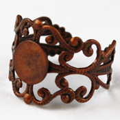 Antique Copper Adjustable Filigree Rings - Pack of 10