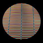 Clear Borosilicate with Dichroic Rainbow A Stripes Pattern on Cyan / Dark Dark Red