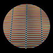 Thin Clear Borosilicate with Dichroic Rainbow A Stripes Pattern in Cyan Dark Dark Red