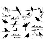 Birds On Wire Black Decals