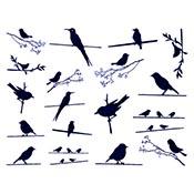 Birds On Wire Blue Decals
