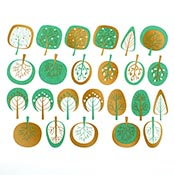 Modern Trees Green/Gold Decals