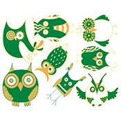 Owls Green/Gold Decals