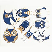 Owls Blue/Gold Decals