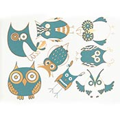 Owls Turquoise/Gold Decals
