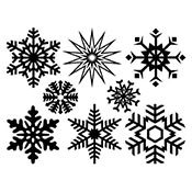 Large Snowflake Black Decals