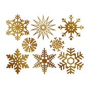 Large Snowflake Gold Decals
