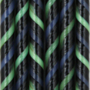 Black, Cobalt Blue, and Spring Green Twisted 90 COE Cane - approx. 18 in.