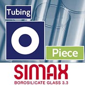 Piece 12 x 2.2 mm Simax Clear Tubing